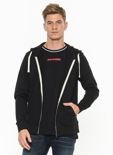 Jack & Jones Kapüşonlu Fermuarlı Sweatshirt Siyah